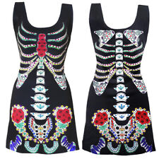LADIES DAY OF THE DEAD DRESS HALLOWEEN SEXY SUGAR SKULL SKELETON FANCY DRESS