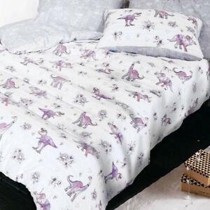 Kids Reversible Dinosaur Duvet Quilt Cover Bed Set - Single, Double OR King Size