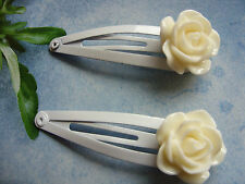 A Pair Ladies / Girl's Ivory Rose Flower Hair Clips Wedding Favours, Bridesmaid