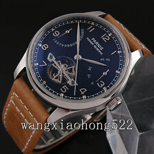 43mm Parnis Black Dial Seagull Movement Power Reserve Automatic Mens Watch
