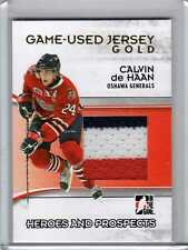 CALVIN de HAAN 09/10 ITG H&P Jersey GOLD /10 SP 3-color Game-Used Hockey Card