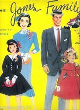 Vintage Uncut 1961 Jones Family Paper Dolls~Six Pages Clothing~#1 Reproduction!