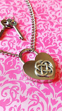SHD Celtic Knot Love Heart Padlock Necklace Permanent Day Collar BDSM Submissive