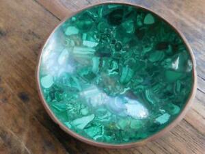 Beautiful Vintage Malachite Stone Bowl In Brass Rim Vide Poche