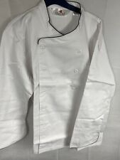 Chef Coat Large White Long Sleeve 10 Button Jacket Polyester Black Piping L