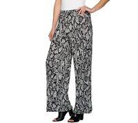 Joan Rivers Petite Length Jersey Knit Wide Leg Pull-On Pants Grey PM Size QVC