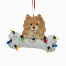 Pomeranian w/Bone & Lights Ornament