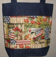 New Handmade Large Usa Patriotic Flag Country Americana Flowers Denim Tote Bag