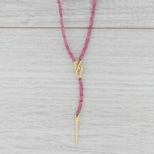 "Pink Tourmaline Bead Lariat Necklace 18k Gold 16.5"" Designer Nordstrom"