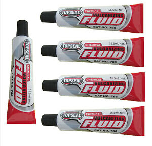 Topseal Fast Drying Vulcanizing Cement Fluid Tyre Repair Glue 16.5ml Tubes x 5