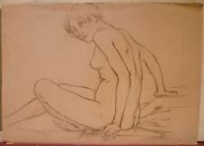 Dessin Fusain ÉDOUARD LOUIS HENRY-BAUDOT(1871-1953)  Etude de Nu HB15