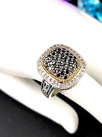 BALISSIMA BY EFFY 18K GOLD 925 STERLING 1 CTW BLACK & WHITE DIAMOND RING SIZE 7