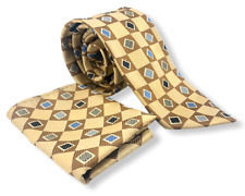 GIORGIO BRUTINI Necktie Tie with Handkerchief Diamond & Checker Pattern Gold
