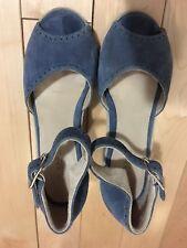 EUC A.P.C. Women US 6 EU 36 Blue Suede Peep Toe Wedge Heel