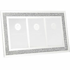 """Mirror and Crystal Triple 4"""" x 6"""" Picture Photo Frame - Crushed Diamond Crystal"""