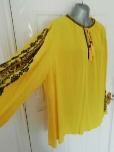 SIMPLY BE Size 32 Yellow Crinkle Black Embroidered Blouse Top Plus NEW