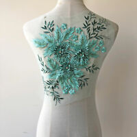 Delicate Crystal Rhinestone Flower Applique Embroidery Prom Dress Lace Motif