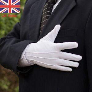 1 Pair White Gloves Guard Parade Inspection Santa Magician Mens Fancy Dress UK