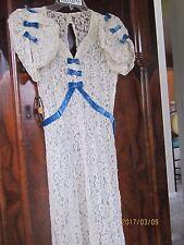BEAUTIFUL 1930S ALL LACE EVENING DRESS W/BLUE VELVET TRIM