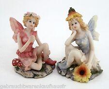 Zwei Flower Fairies Elfen Figuren Blumenkinder Dekofiguren Feen ca. 13 cm