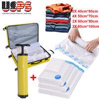10Pack Vacuum Storage Space Saving VAC Bags Compressed Travel Reusable W/Pump