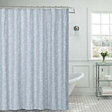13pc Jessica Grey Silver Leaves Foil Fabric Shower Curtain Hooks Bath Set 70x70