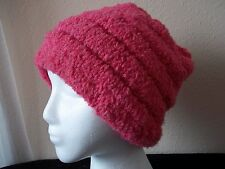Hand knitted cozy & warm beanie/hat , plush hot pink