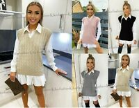 Womens Ladies Cable Knit Sleeveless Vest Knitted Jumper Tank Top Winter Sweater