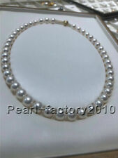 "Fine AAAAA 8-9 mm white AKOYA pearl necklace 18"" Top Grading"