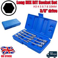 """Extra Long HEX BIT Socket Set 3/8"""" Drive HEX Allen Keys H3 4 5 6 7 8 10mm 7Pcs"""