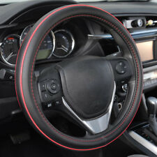 ACDelco Premium Smooth PU Leather Steering Wheel Cover Red Stitch Accent