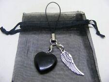 Natural Black Obsidian Heart & Angel Wing Mobile Phone / Handbag Charm