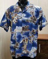 Hilo Hattie Hawaiian Island Floral Volcano Ukulele Lei Beach Blue Rayon Shirt LG