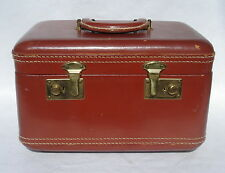 Vintage Leather Train Luggage Cosmetic Vacation Case Brown Leather NO KEY VGUC