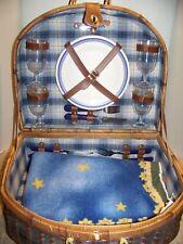 Large Vintage Lined Green Wicker Picnic Basket Set for Four w/blanket