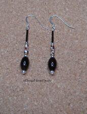 Banded Agate / Cloisonne Drop Earrings
