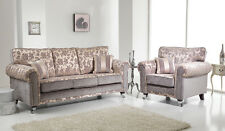 Silver Grey Champagne Fabric Material 3 Seater 2 Seat Chair Sofa Suite Royale
