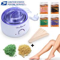 Hair Removal Wax Warmer Heater & 300g Depilatory Hard Wax Beans Waxing Pellet