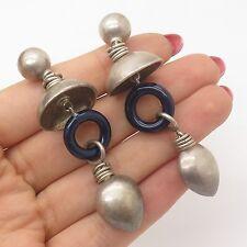Vtg 925 Sterling Silver Enamel Large Hollow Drop  Earrings