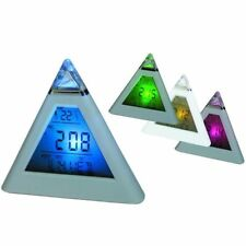LED Pyramid Colour Changing Digital Clock with Date Alarm Temperature Calendar v