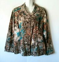WOMEN'S CHICO'S MULTI-COLOR FLORAL BUTTON DOWN COTTON JACKET WITH POCKETS SIZE 2