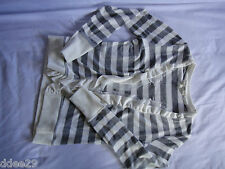 Teen Girls,Grey & Beige Striped Cardigan With Fringed Edge Size 10-12
