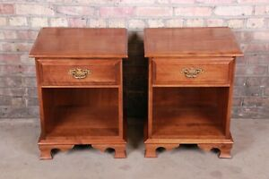 Solid Cherry Chippendale Style Nightstands by Moosehead Furniture, Pair