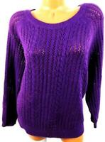 Faded glory purple cable knit see through ribbed long sleeve pullover sweater 2X