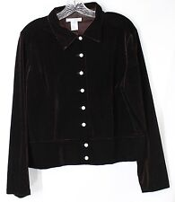 NWOT f.l. malik Women's 12 LS Brown Button Front Stretch Velvet Light Jacket