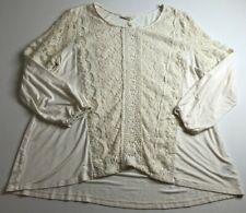 Style & Co Women's Long Sleeve Blouse Top XL Cream Ivory Lace Romantic Boho