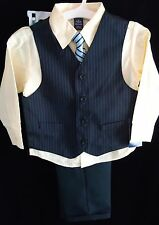 NWT $50 Arrow 4 Pc Pinstripe Holiday Wedding Suit Vest Tie Shirt Pants Sz 4 or 5