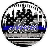 New York Mets Thin Blue Line MLB Color Vinyl Decal / Sticker Sizes Free Shipping