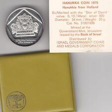 Israel 1975 Holland Hanukka Lamp (Hanukkiya) Bu Coin 20g Silver +orig. case+COA
