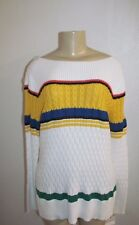 NEWT WOMEN LIZ CLAIBORNE WHITE MULTI STRIPED PATTERN SWEATER SIZE XL